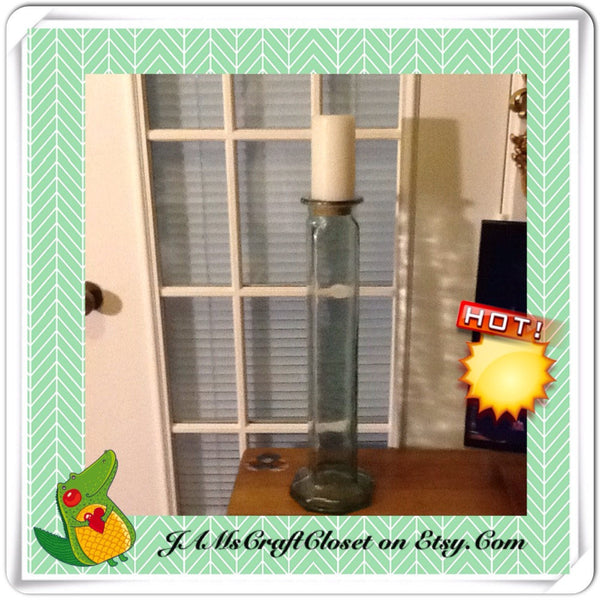 Pedestal Pillar Vintage Candle Holder Green Glass - JAMsCraftCloset