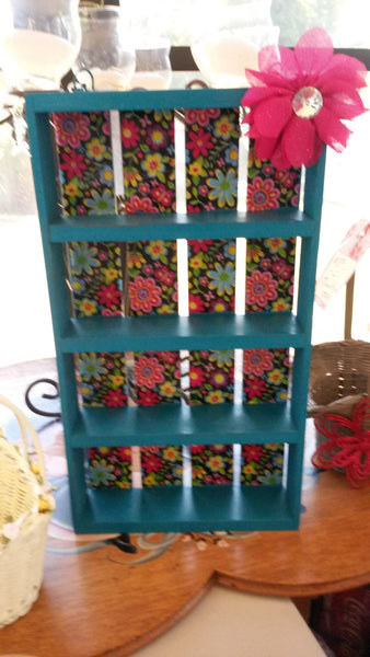 Shelf Small Dark Aqua With a Hippie Flower Print Background and Large Hot Pink Flower With Bling - JAMsCraftCloset