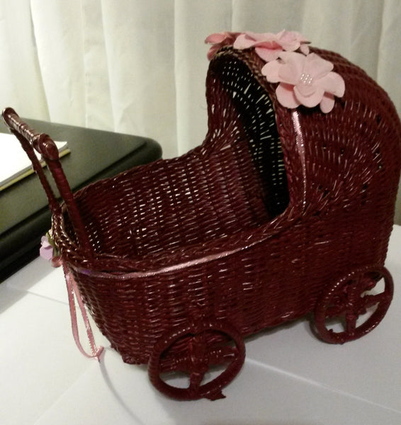 Baby Buggy Pram Wicker Small Burgundy Pink Baby Shower Table Decor - JAMsCraftCloset