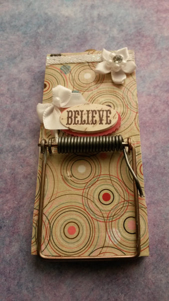 Mousetrap Note Holder Cottage Chic Print Accented With Ribbon Flowers Bows and the Word BELIEVE - JAMsCraftCloset