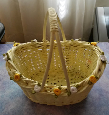 Basket Flower Girl Wedding Accessory Table Decor Small Yellow Wicker - JAMsCraftCloset