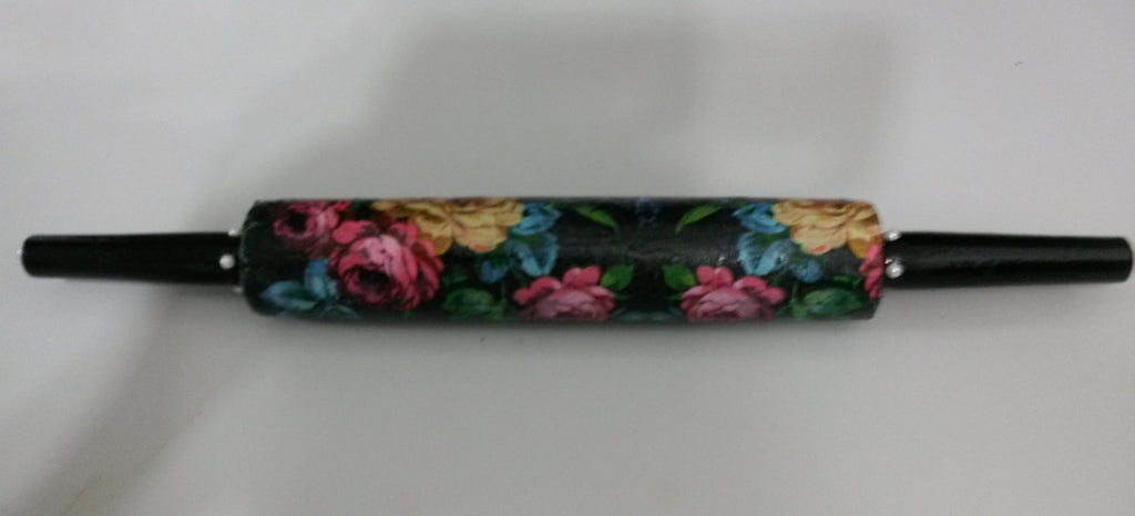 Rolling Pin Hand Painted Decoupaged Black Background Pink Yellow Blue Flowers - JAMsCraftCloset