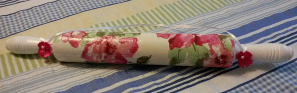 Rolling Pin Hand Painted Decoupaged Red Pink Roses With Silk Bows and Bling - JAMsCraftCloset