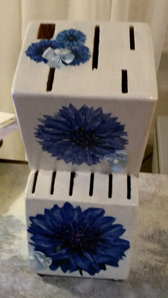 Knife Block Decoupaged Blue White Hand Painted White Block Dark Blue Light Blue Flowers - JAMsCraftCloset