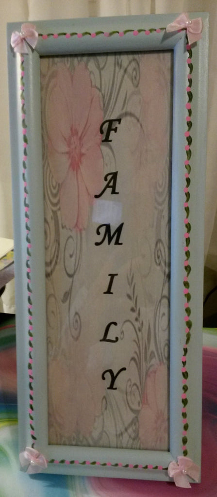 Picture Frame FAMILY Hand Painted Mint Green Frame Hand Painted Pink and Green Details - JAMsCraftCloset