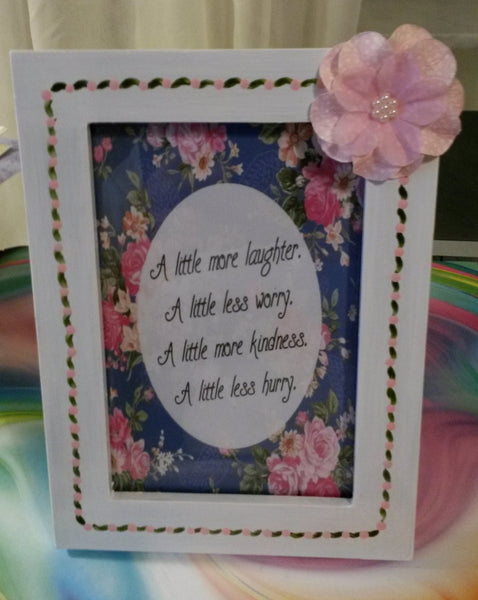 Picture Frame Pink Blue Hand Painted Positive Saying Wall Art - JAMsCraftCloset