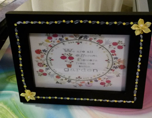 Positive Saying Picture Frame Hand Painted Wall Art Shelf Sitter - JAMsCraftCloset