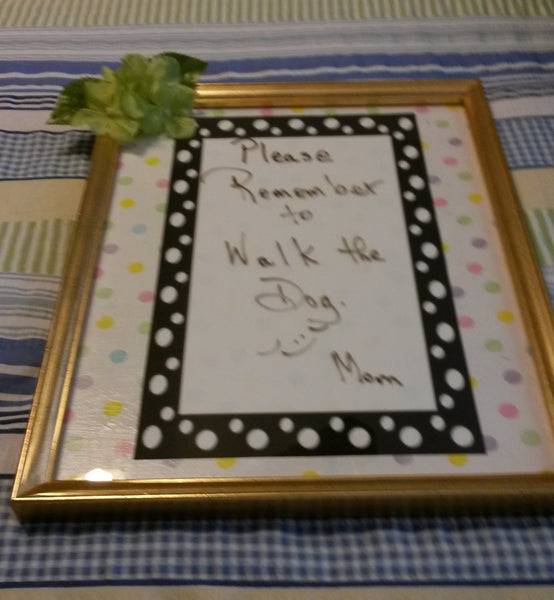 Whiteboard Polka Dotted Gold Frame With Green Flowers Wall Art - JAMsCraftCloset