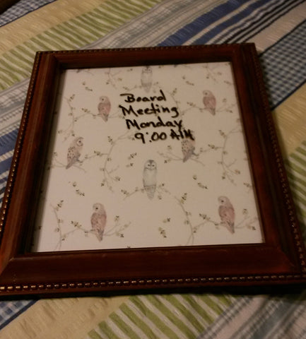 Whiteboard OWL For the Man in Your Life Wooden Frame  Wall Art - JAMsCraftCloset