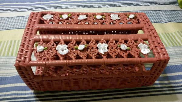 Tissue Box Holder Rose Wicker Slim White Ribbon Flowers Bows With Bling - JAMsCraftCloset