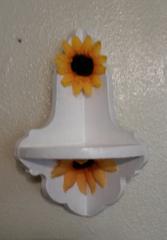 Corner Sunflower Shelf UpCycled Cottage Chic Small White Hand Painted Shelf Sunflowers Home Decor Kitchen Decor Office Decor One of a Kind - JAMsCraftCloset
