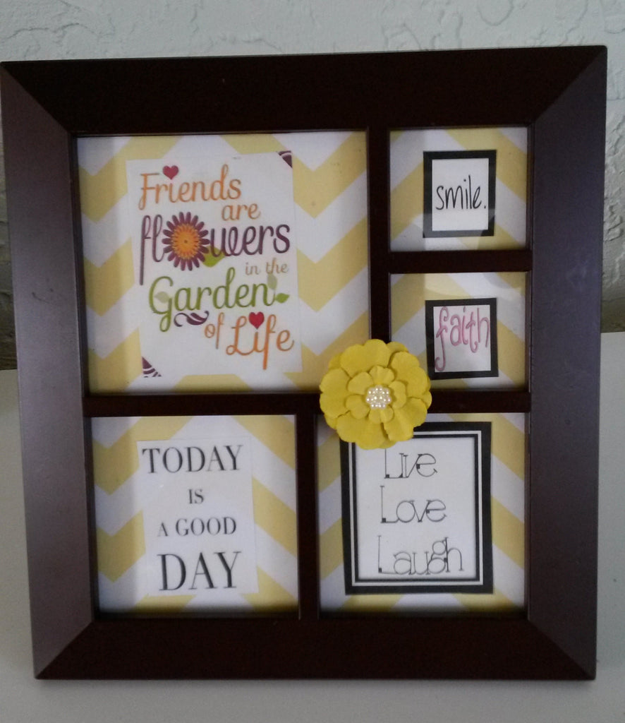 Positive Saying Picture Frame  Black Frame Yellow White Background Yellow Flower Bling Accent - JAMsCraftCloset