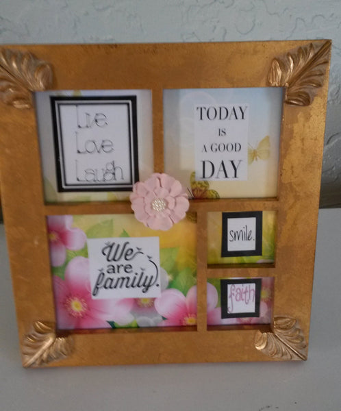 Positive Saying Gold Wooden Picture Frame  Vintage Looking  Flowers Butterflies - JAMsCraftCloset