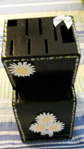 Knife Block UpCycled Cottage Chic Hand Painted Large Wooden Black With White Daisy Accents Kitchen Decor Home Decor Gift One of a Kind - JAMsCraftCloset