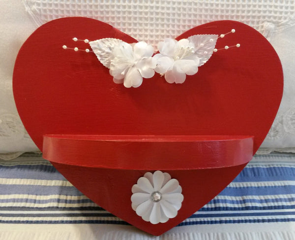 Red Heart Shelf Upcycled Cottage Chic Hand Painted White Accents Wall Art Wall Decor Home Decor Victorian Decor Country Decor Gift - JAMsCraftCloset