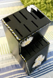 Knife Block Hand Painted Large Wooden Black With White Daisy Accents - JAMsCraftCloset