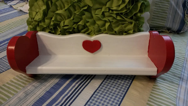Heart Shelf UpCycled Cottage Chic Hand Painted Wooden Red White Home Decor Wall Hanging Wall Art Country Decor Gift Storage One of a Kind - JAMsCraftCloset