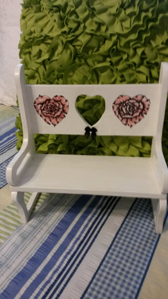 Shelf Bench Vintage Handmade Pen Ink Rose Hearts - JAMsCraftCloset