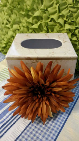 Tissue Box Holder UpCycled Cottage Chic PLASTIC Small With Huge Rust Flower Accent Home Decor Country Decor One of a Kind Gift Gifts for Her - JAMsCraftCloset