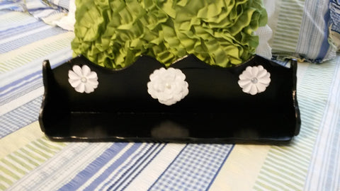 Wooden Shelf Vintage Handmade UpCycled Cottage Chic Black With White Flower Accents Home Decor Storage Country Decor Wall Art Wall Hanging - JAMsCraftCloset