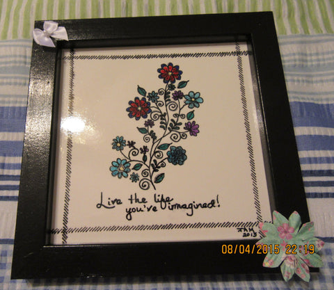 Wall Art Ceramic Tile Framed in Black Pen and Ink - JAMsCraftCloset