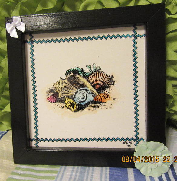 Wall Art Framed Ceramic Tile Pen and Ink Seashells on the Beach Framed Black Frame - JAMsCraftCloset