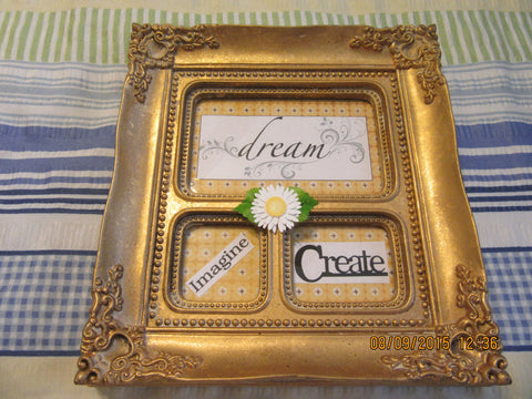 Positive Sayings Framed Vintage Gold Ornate Frame Dream Imagine Create - JAMsCraftCloset