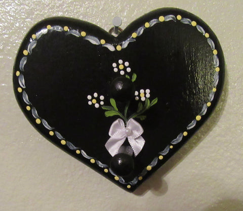 Ring or Key Holder Heart With Peg Hand Painted Black White Flower Wall Art - JAMsCraftCloset