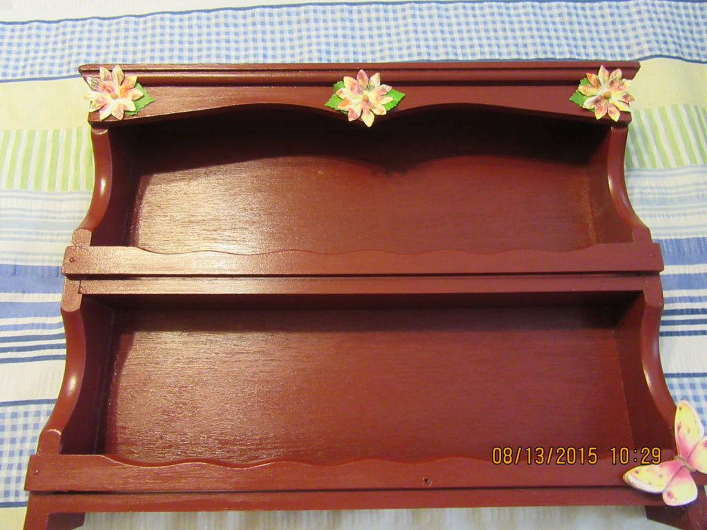Shelf Spice Rack Wooden Hand Painted Tuscan Red With MultiColored Tuscan Red Flower Accents - JAMsCraftCloset