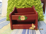 Napkin Holder Tuscan Red Hand Painted Wooden Flower Butterfly Accents - JAMsCraftCloset