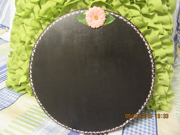 Chalkboard Round Hand Painted Chalkboard in Peach White  Peach Purple Wall Art - JAMsCraftCloset