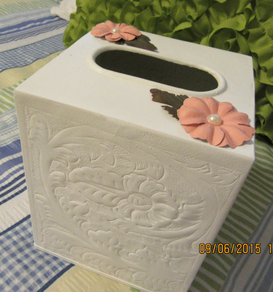Tissue Box Holder White Metal Embossed Small with Peach Flower Accents - JAMsCraftCloset