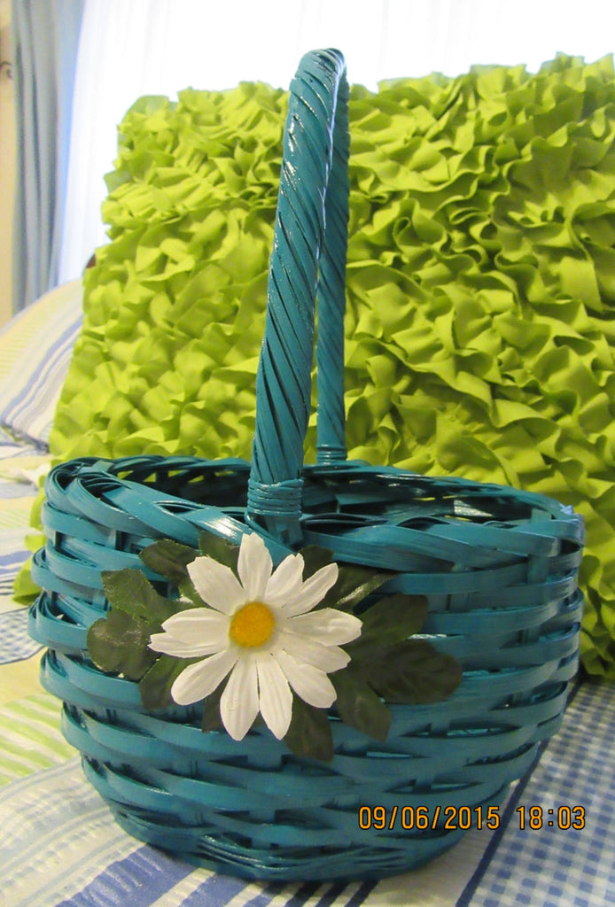 Basket Flower Girl Turquoise Wicker Basket with White Daisy Accents Wedding Accessory Table Decor - JAMsCraftCloset