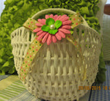 Basket Flower Girl White Wicker Wall Hanging Basket With A Burlap Bow Wedding Accessory Table Decor - JAMsCraftCloset