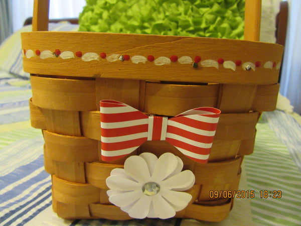 Basket Flower Girl Wooden Painted Red and White Accents Wedding Accessory Table Decor - JAMsCraftCloset