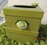 Tissue Box Holder Metal Light Olive Green Pale Green Paper Roses - JAMsCraftCloset