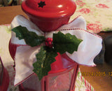 Lantern Up-Cycled Red Tea Light With White Bow and Holly Accents Lighting - JAMsCraftCloset