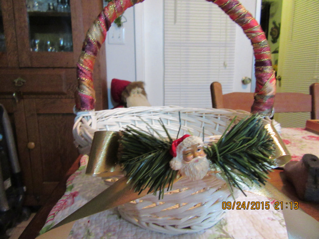 Basket Wicker Vintage White Ribbon Wrapped Handle, Gold Bow  Pine Needles and Santa Holiday - JAMsCraftCloset