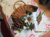 Basket Hanging Natural Wicker White Poinsettias Pine Cone White Bow - JAMsCraftCloset