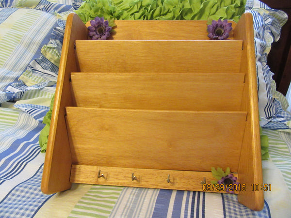 Wall Organizer Natural Wood with Purple Flower Accents - JAMsCraftCloset