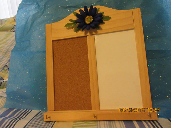 Message Center  Wood  Cork Board and Whiteboard With Hooks Blue Flower Accent - JAMsCraftCloset