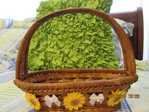 Basket SMALL Natural Wicker with Yellow Daisies White Bow Accent - JAMsCraftCloset