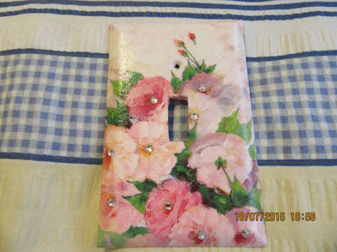 Switch Plate Switchplate Single Pink Flowers With Bling Romantic
