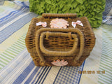Recipe Box Wicker Pink Accents Vintage Natural - JAMsCraftCloset