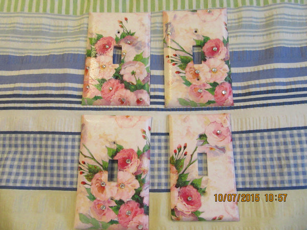 Switch Plate Switchplate Single Pink Flowers with Bling  Romantic - JAMsCraftCloset