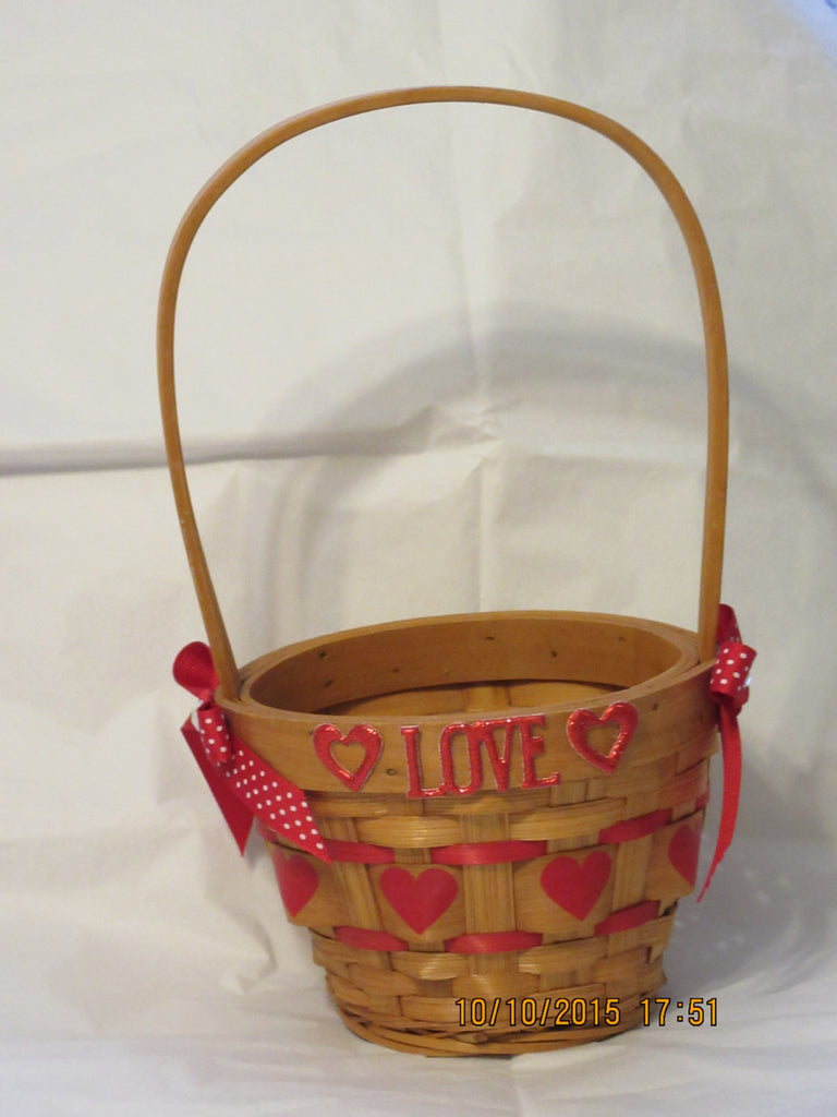 Basket Natural Woven Heart With Tall Handle With LOVE Red Accents - JAMsCraftCloset