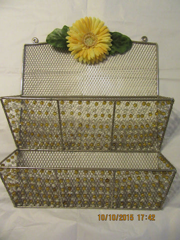 Organizer Metal Yellow and White Beaded  Large Yellow Flower Accent - JAMsCraftCloset