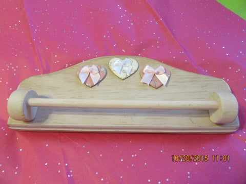 Towel Rack Heart Wooden Pink White Washed Wooden Towel Bar - JAMsCraftCloset