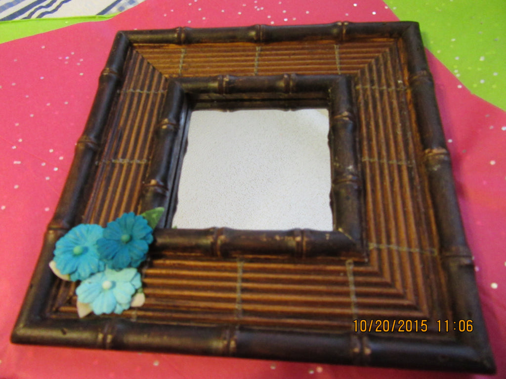 Mirrors Mini Framed Choice of 3  Teal Paper Flower Accents - JAMsCraftCloset