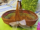 Basket Gathering Large Vintage Wicker White Accents - JAMsCraftCloset